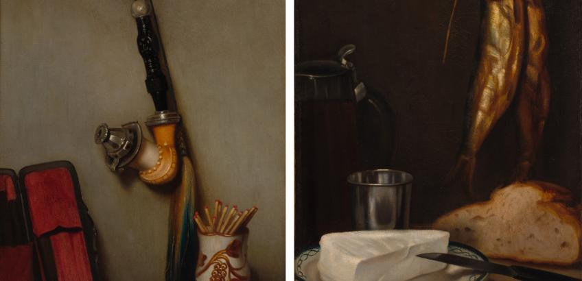 """Alexandre Gabriel Decamps """"Still life with pipe and matches and still life with herring, bread and cheese"""" (1858) fra Cleveland Art Museum."""